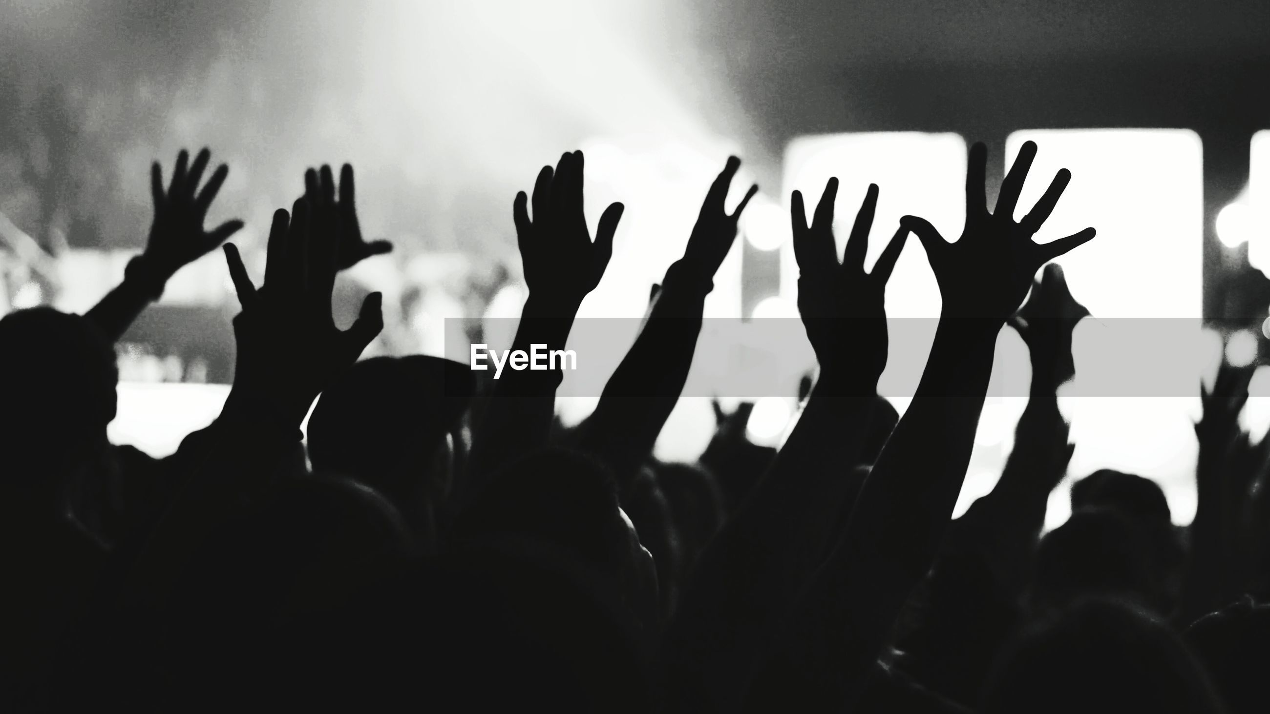 Silhouette people with arms raised during music concert