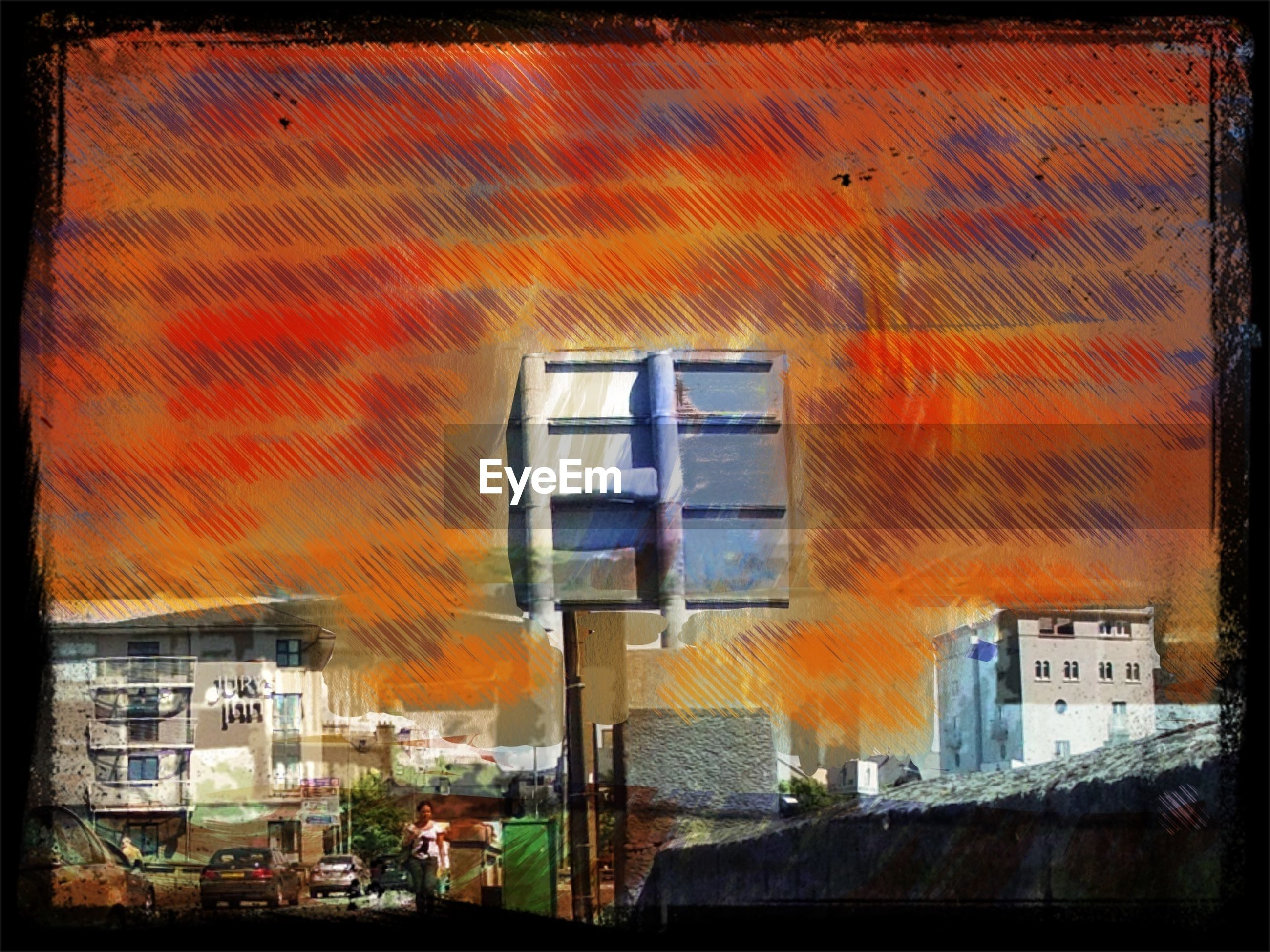 building exterior, architecture, built structure, transportation, orange color, mode of transport, window, house, sunset, residential building, auto post production filter, residential structure, land vehicle, car, transfer print, no people, building, outdoors, city, sky