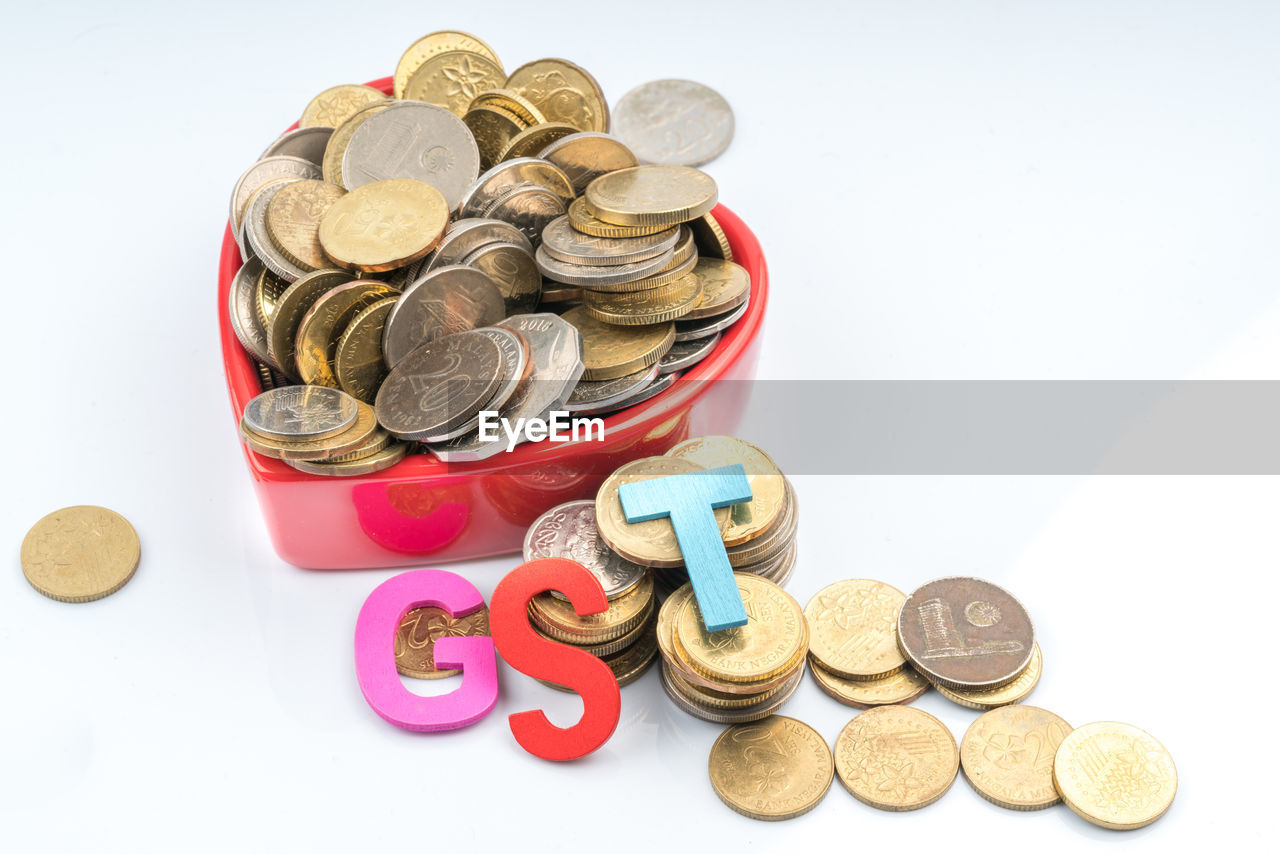 coin, finance, currency, wealth, savings, large group of objects, white background, studio shot, no people, gold colored