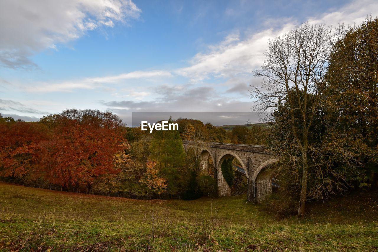 Arch Bridge Amidst Trees Against Sky During Autumn