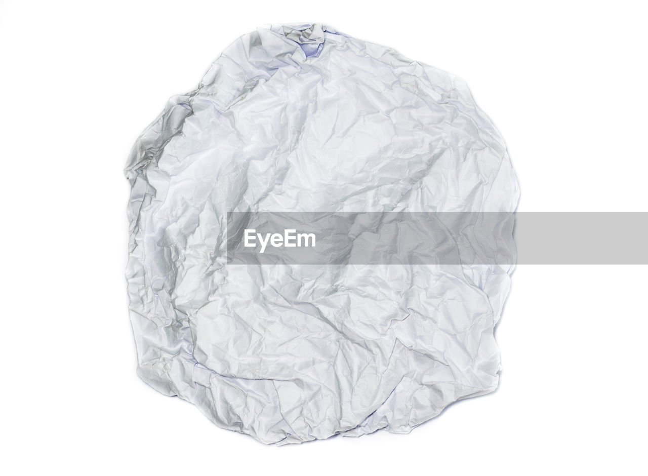 white background, crumpled, studio shot, cut out, paper, indoors, no people, crumpled paper, still life, white color, close-up, single object, copy space, crumpled paper ball, garbage, wrinkled, textured, bag, emotion, empty, blank