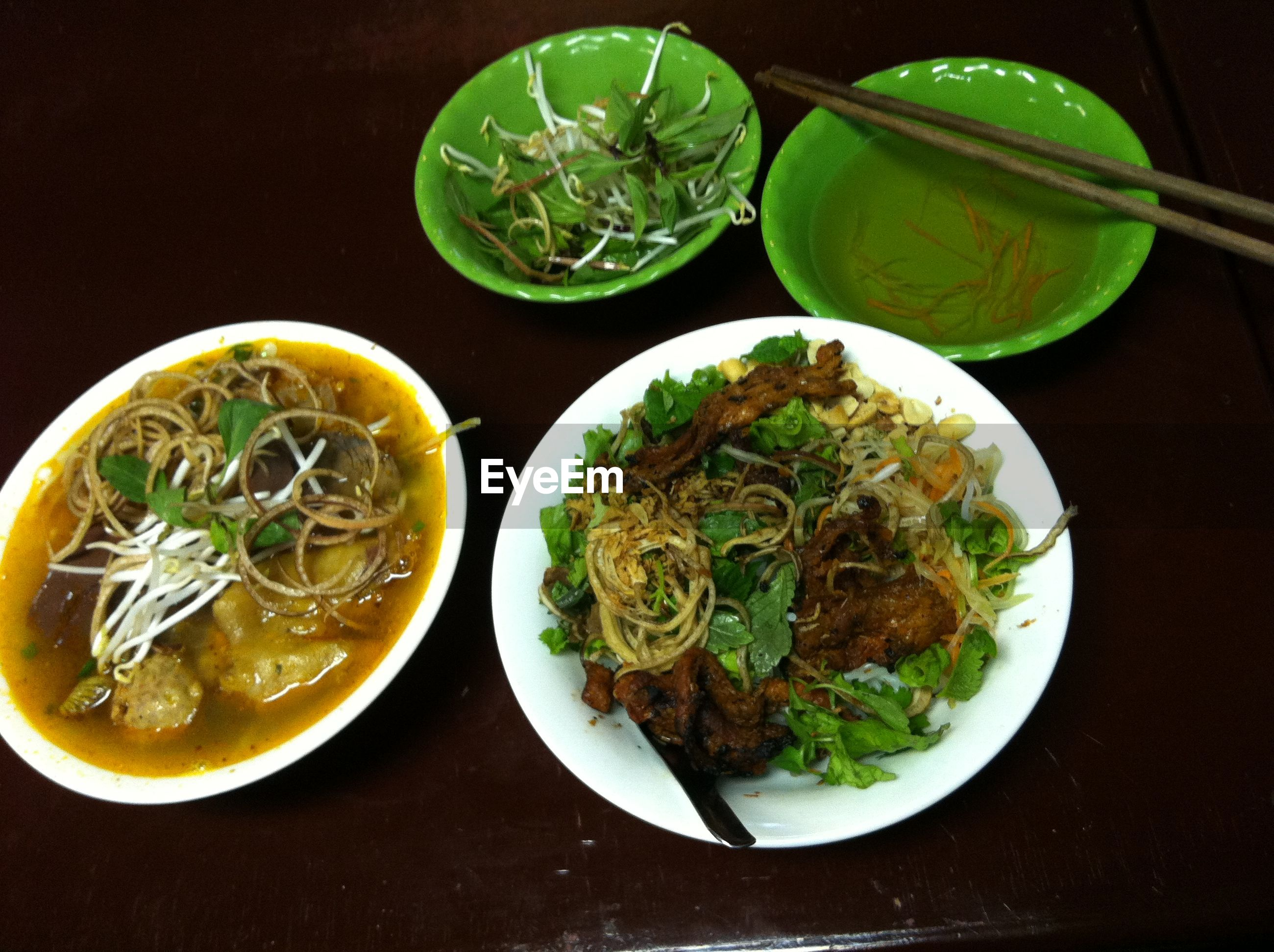 food and drink, food, indoors, healthy eating, bowl, freshness, ready-to-eat, table, plate, still life, soup, serving size, meal, high angle view, directly above, noodles, vegetable, close-up, served, salad