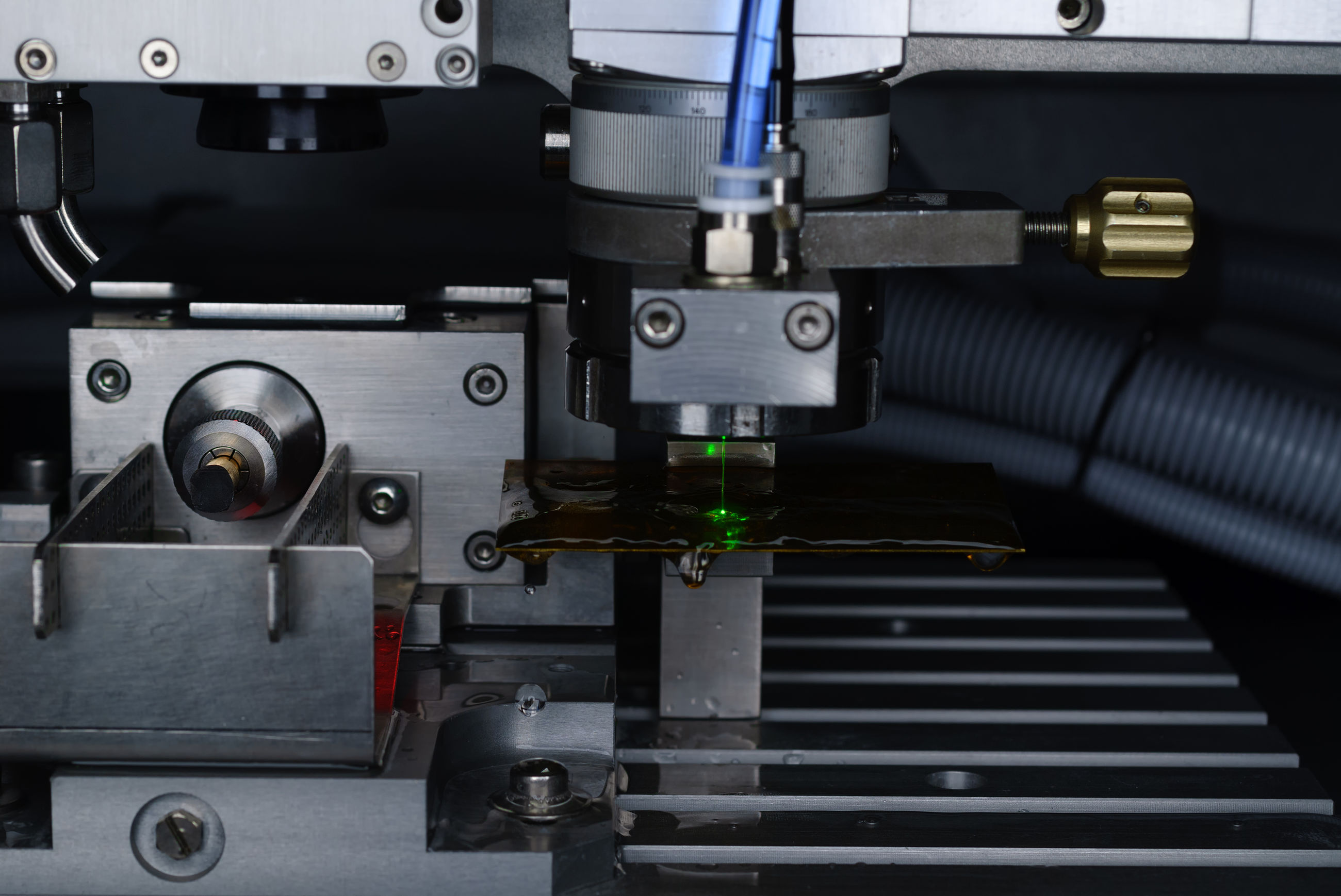 Close-up of laser cutting machine