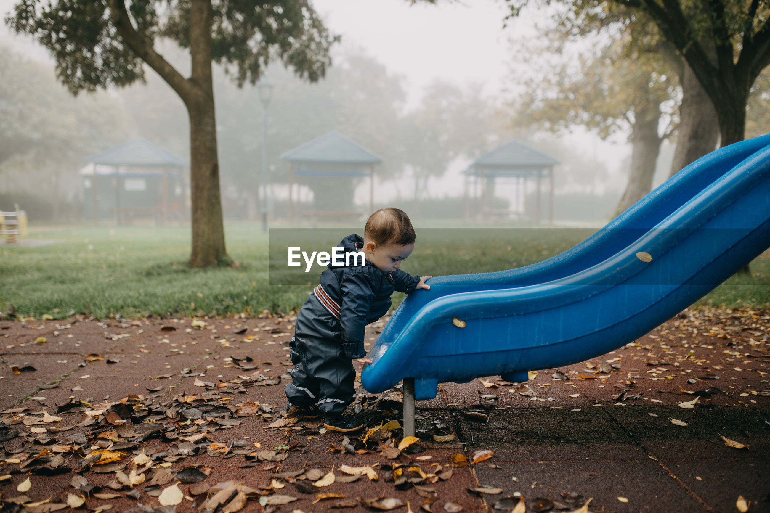Boy playing in park