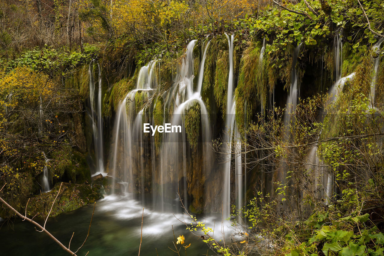 waterfall, long exposure, motion, forest, blurred motion, scenics - nature, tree, water, flowing water, plant, beauty in nature, nature, land, rock, no people, non-urban scene, solid, rock - object, environment, flowing, outdoors, rainforest, power in nature, falling water