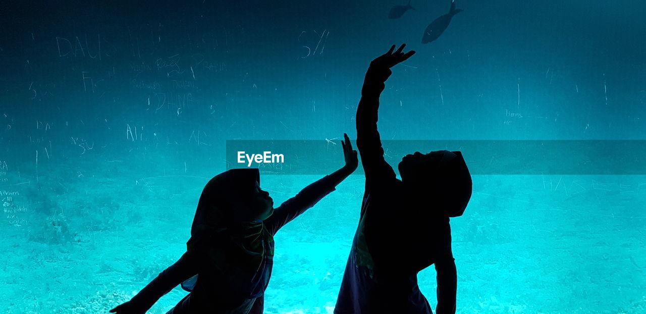 Silhouette Children Standing In Aquarium