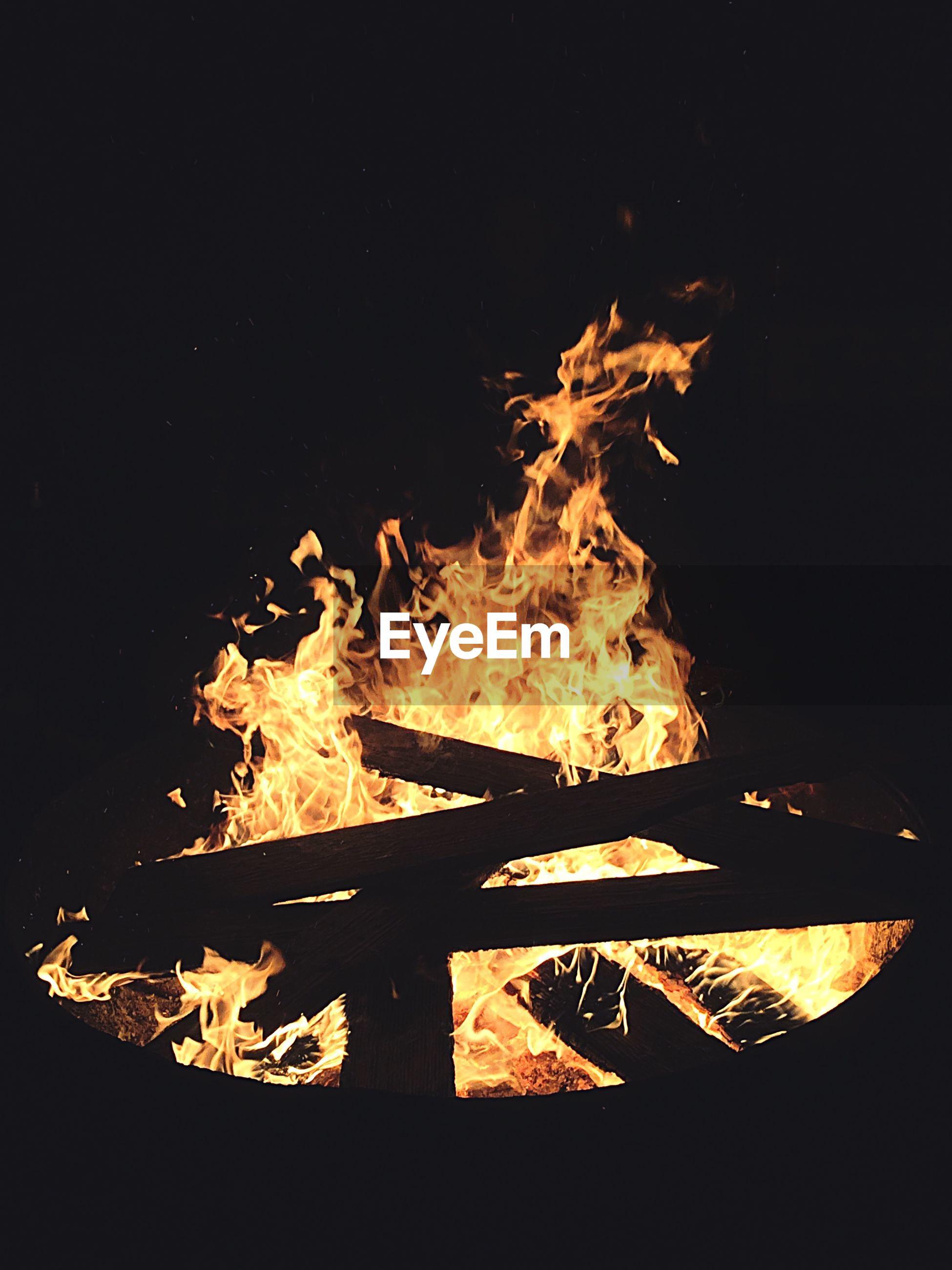 Close-up of campfire at night