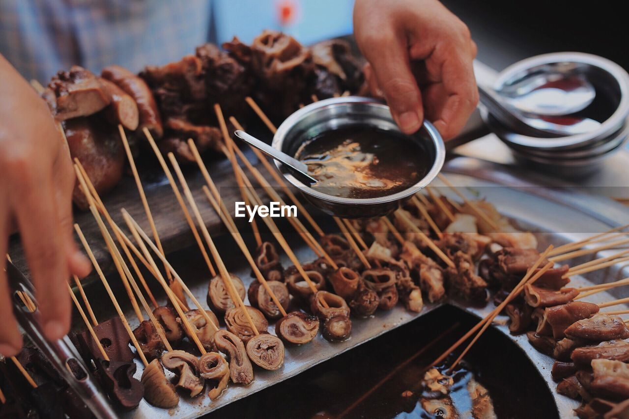 Close-up of street food