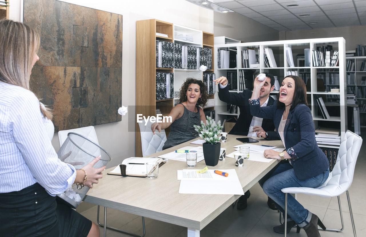 Business people enjoying in office