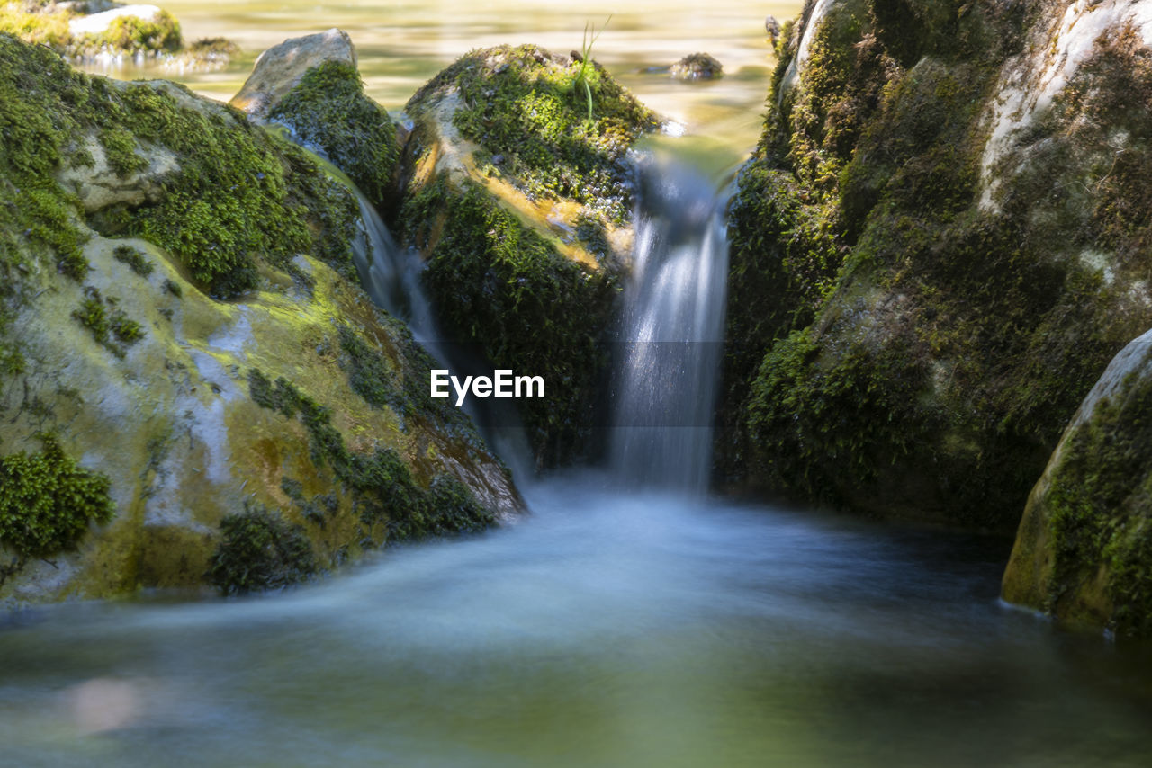 scenics - nature, water, long exposure, waterfall, motion, tree, rock, blurred motion, plant, moss, rock - object, beauty in nature, flowing water, no people, solid, nature, land, forest, day, outdoors, flowing, stream - flowing water, rainforest, falling water