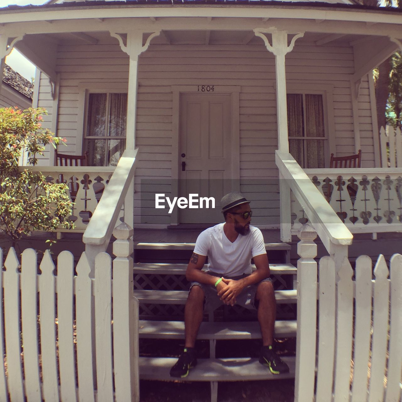 sitting, porch, one person, full length, outdoors, young adult, day, people