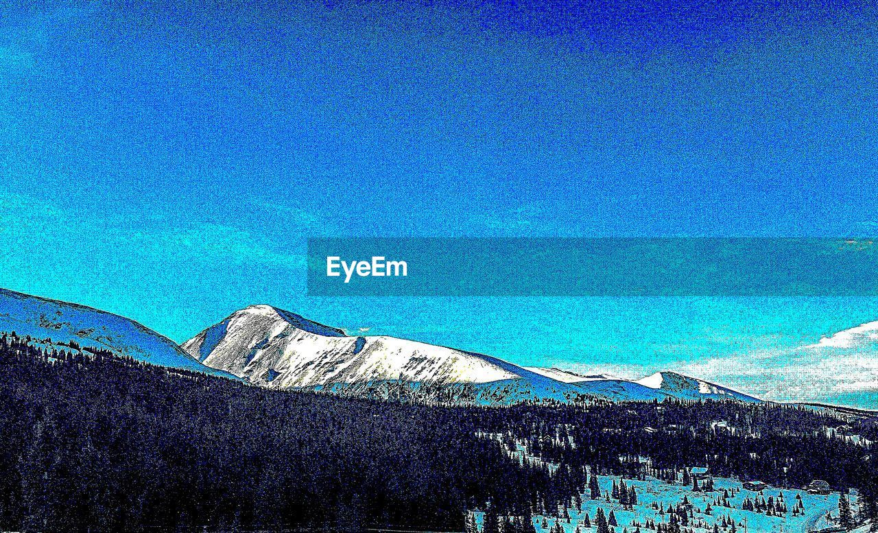 sky, blue, scenics - nature, mountain, tranquil scene, beauty in nature, plant, tree, tranquility, no people, nature, non-urban scene, day, copy space, landscape, clear sky, idyllic, land, winter, low angle view, outdoors, snowcapped mountain, turquoise colored