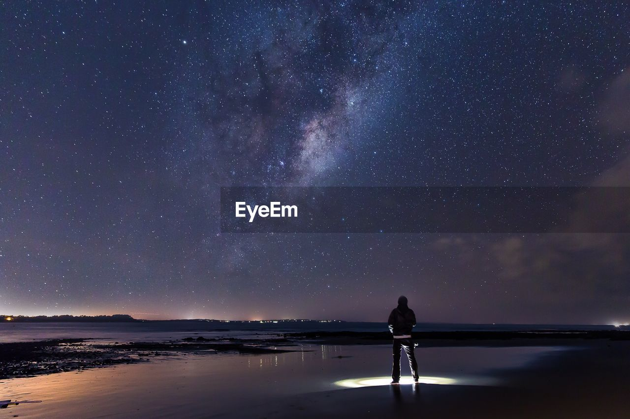 Rear View Of Man Standing With Illuminated Flashlight On Shore Against Milky Way