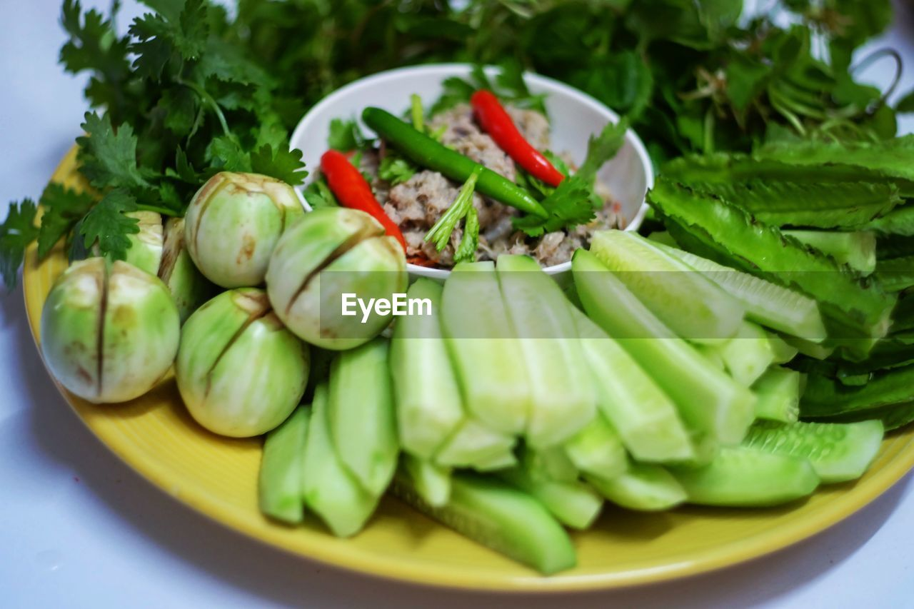 Close-up of vegetables in plate