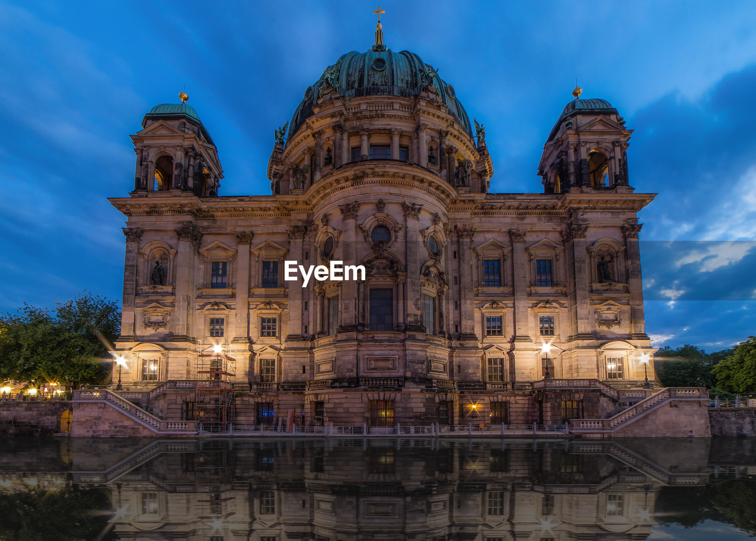 Low angle view of berlin cathedral against sky at dusk