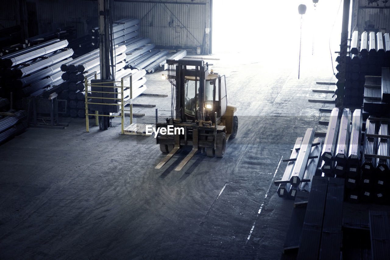 High angle view of forklift in metal industry