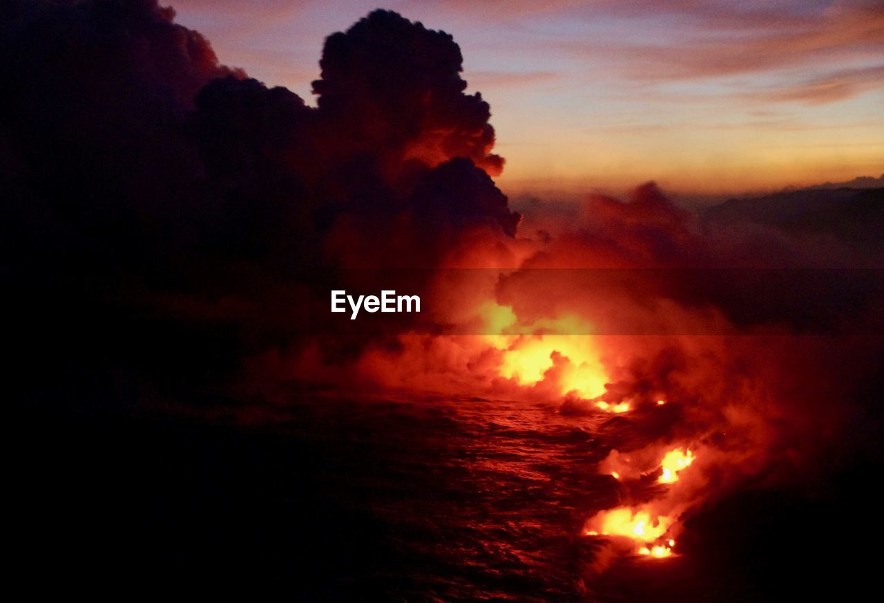 Scenic View Of Lava Against Sunset
