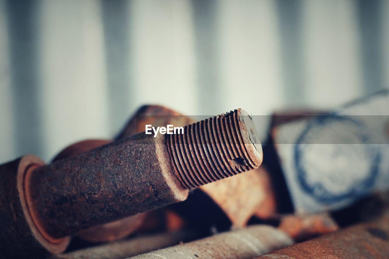 Close-up of rusty screw