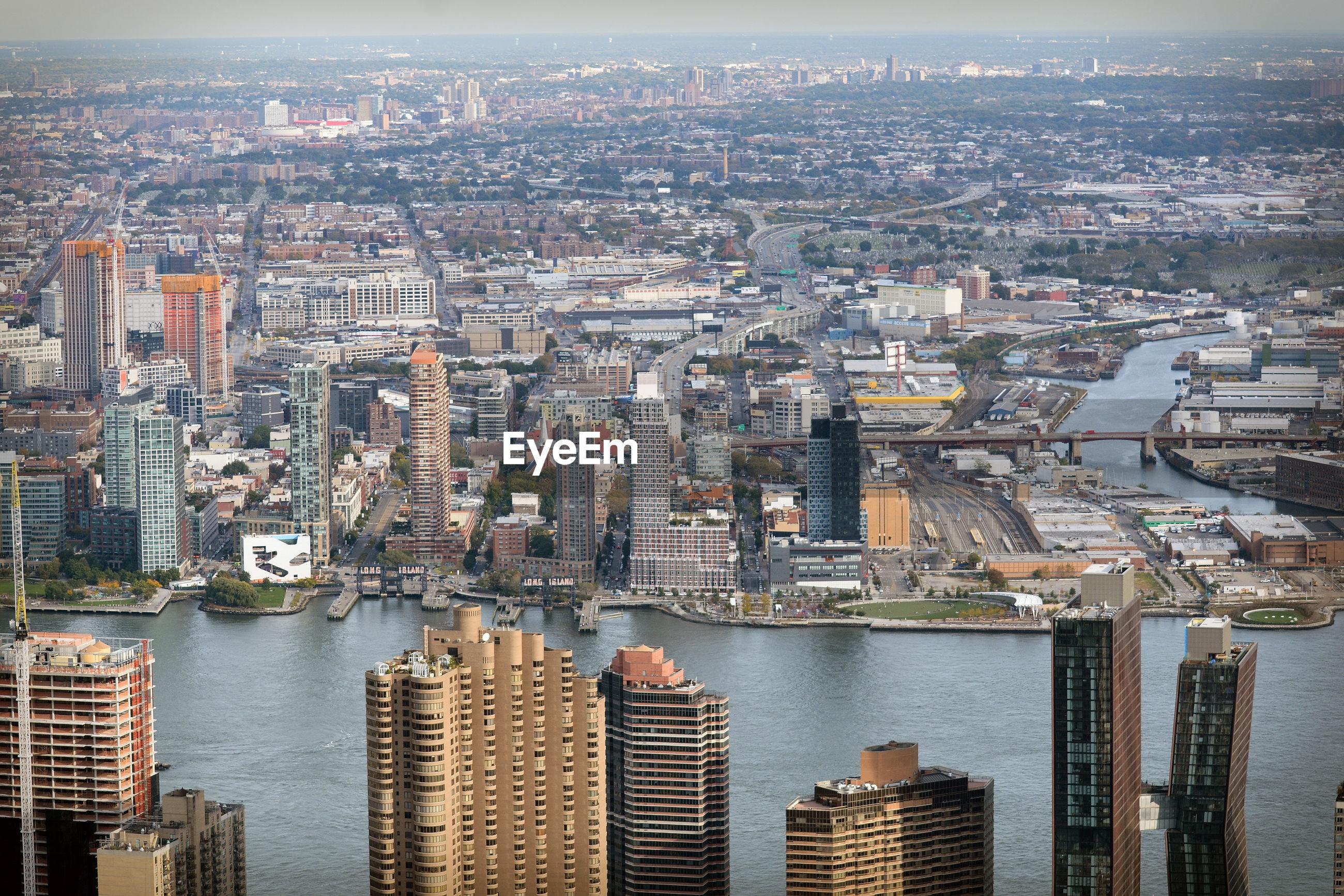 AERIAL VIEW OF CITY AT RIVERBANK