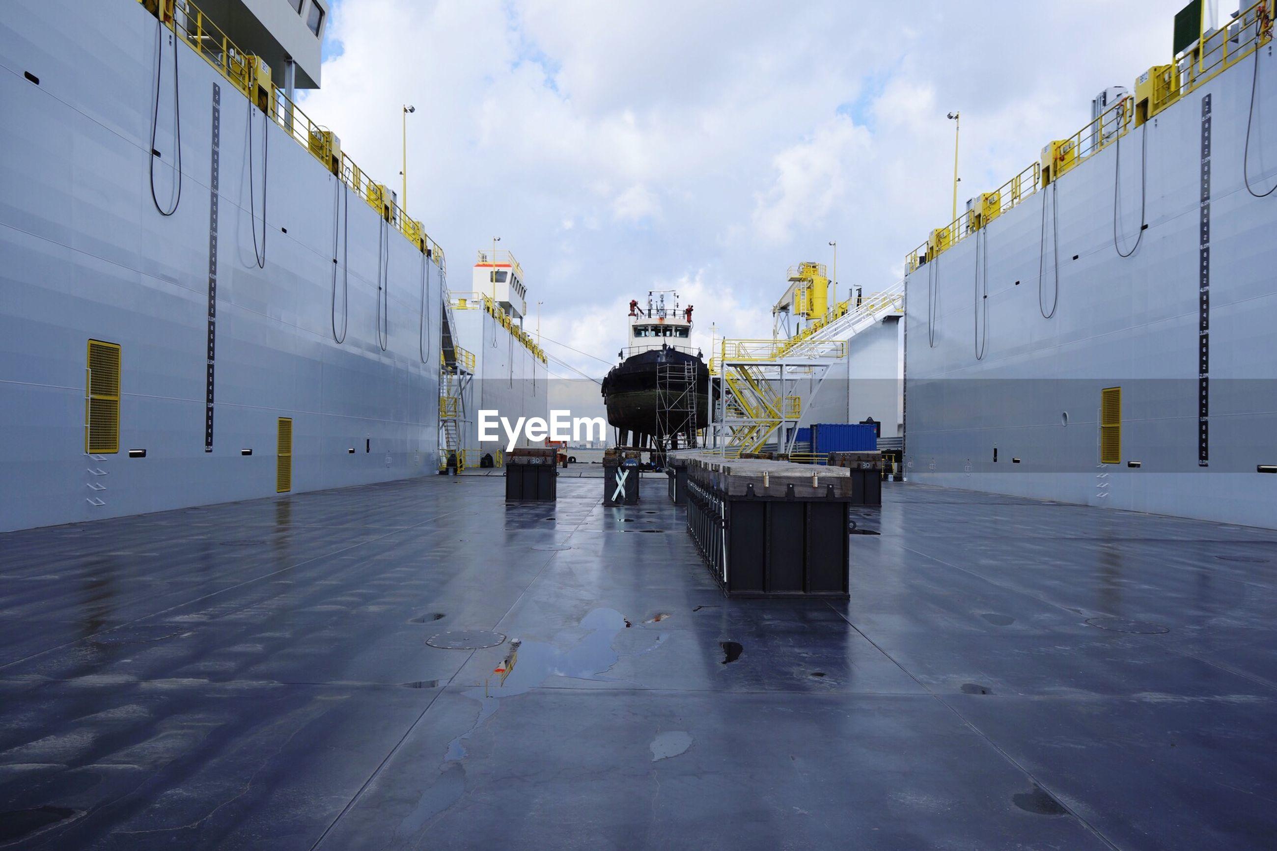Commercial dock against sky