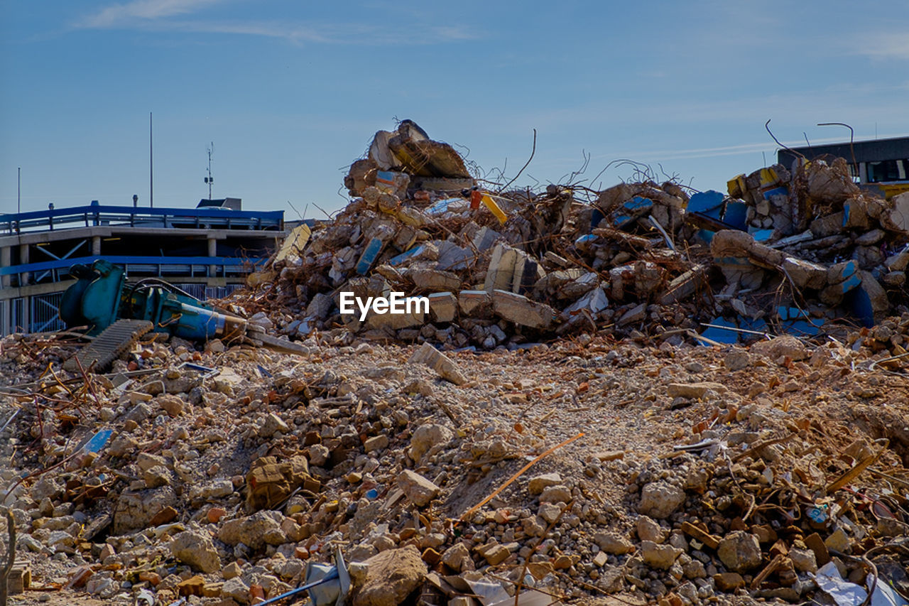 no people, sky, outdoors, garbage, day, nature, heap, stack, sea, waste management