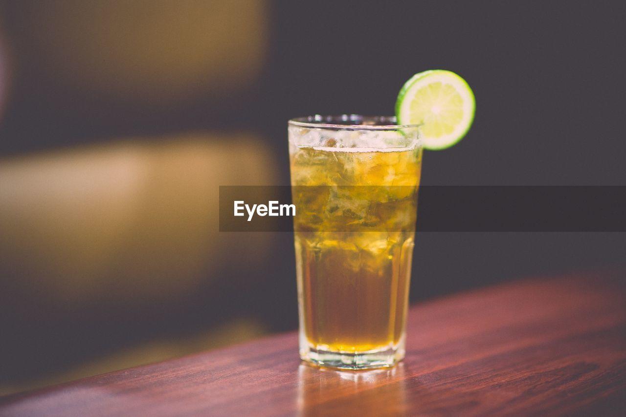 Ice tea served on table