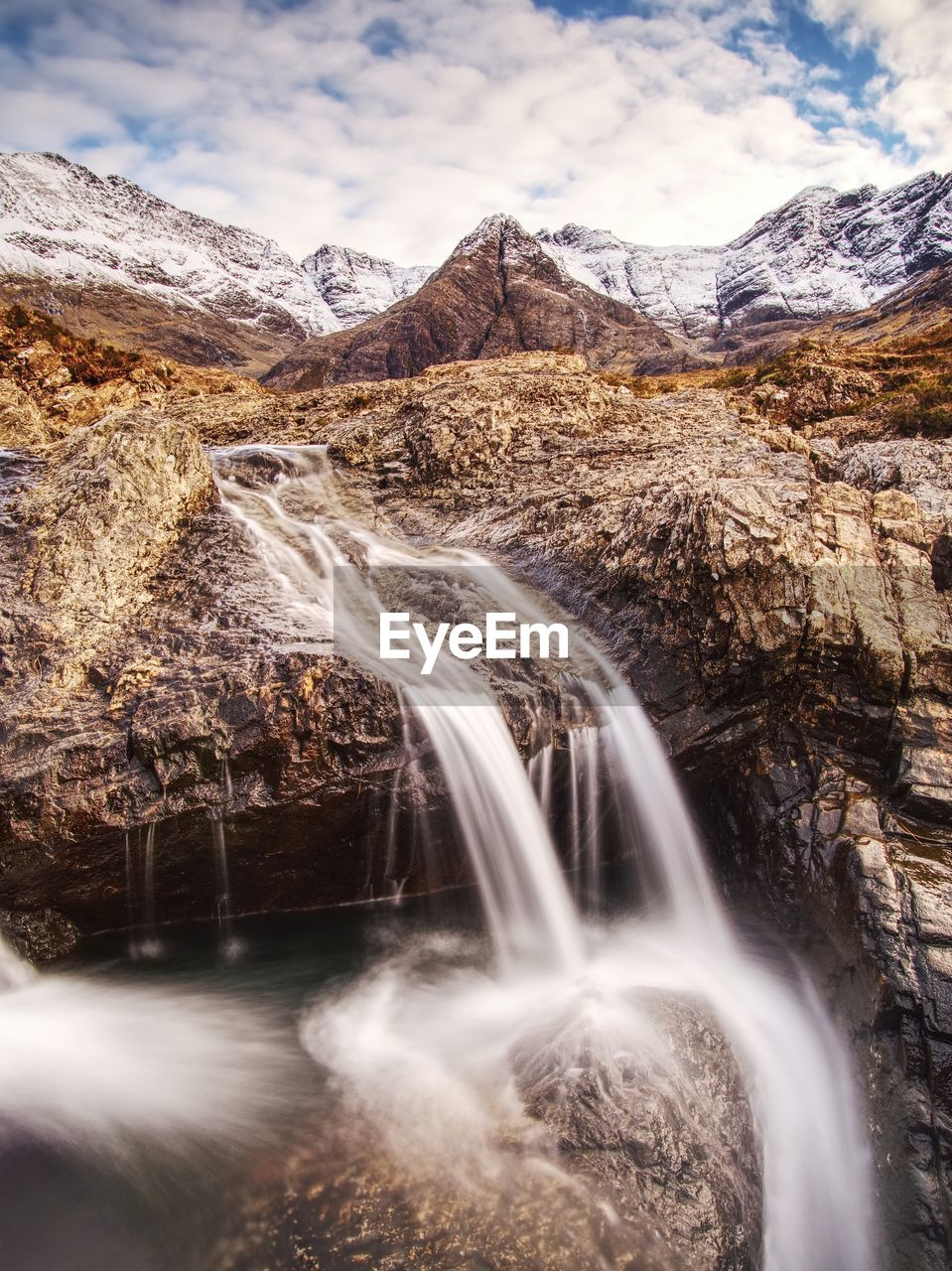 Rapids and small waterfall on the river coe, glencoe mountain, scotland , united kingdom,