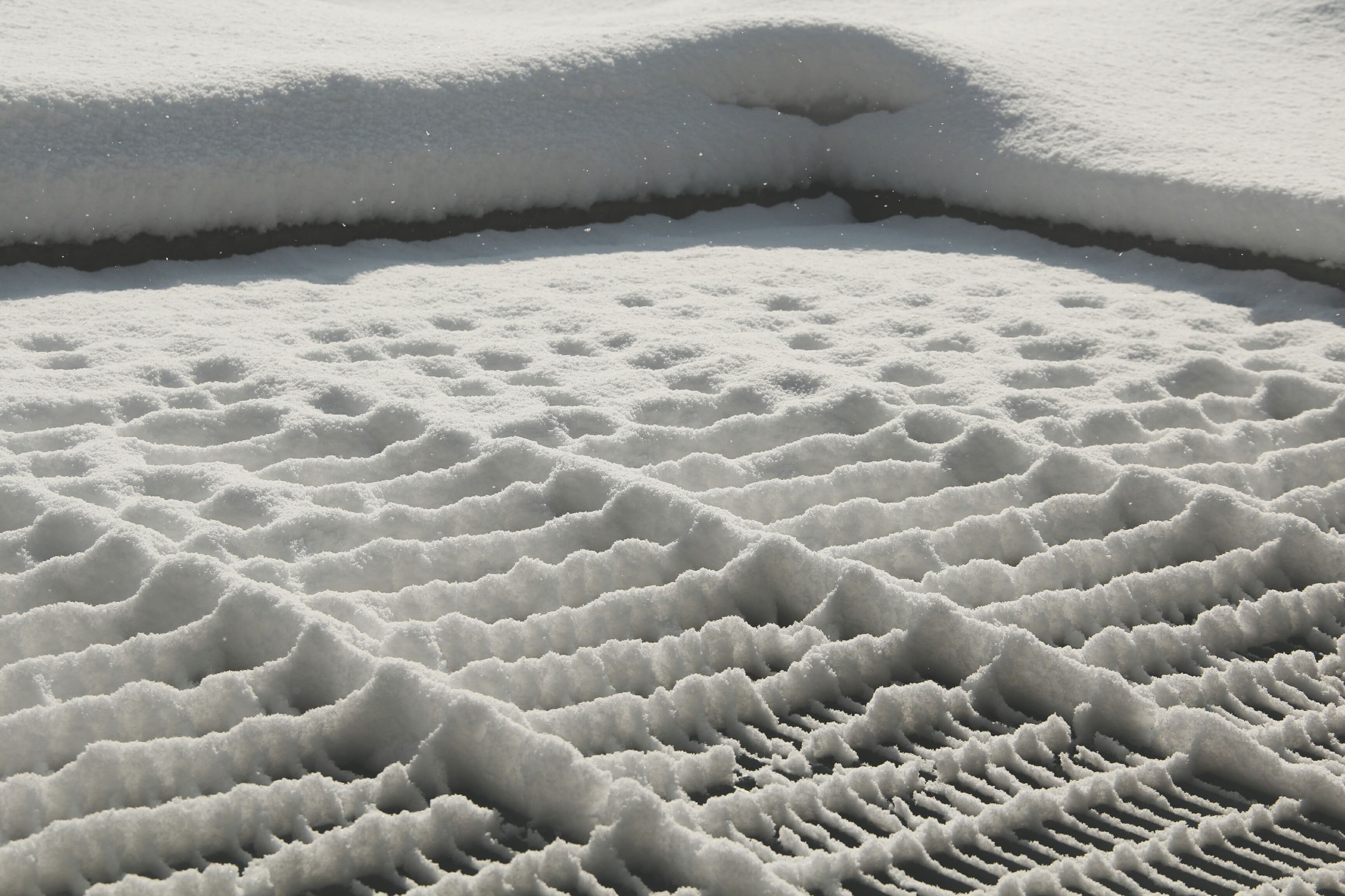 cold temperature, winter, snow, pattern, frozen, season, water, weather, nature, close-up, ice, day, sunlight, white color, tranquility, no people, outdoors, full frame, covering, sea