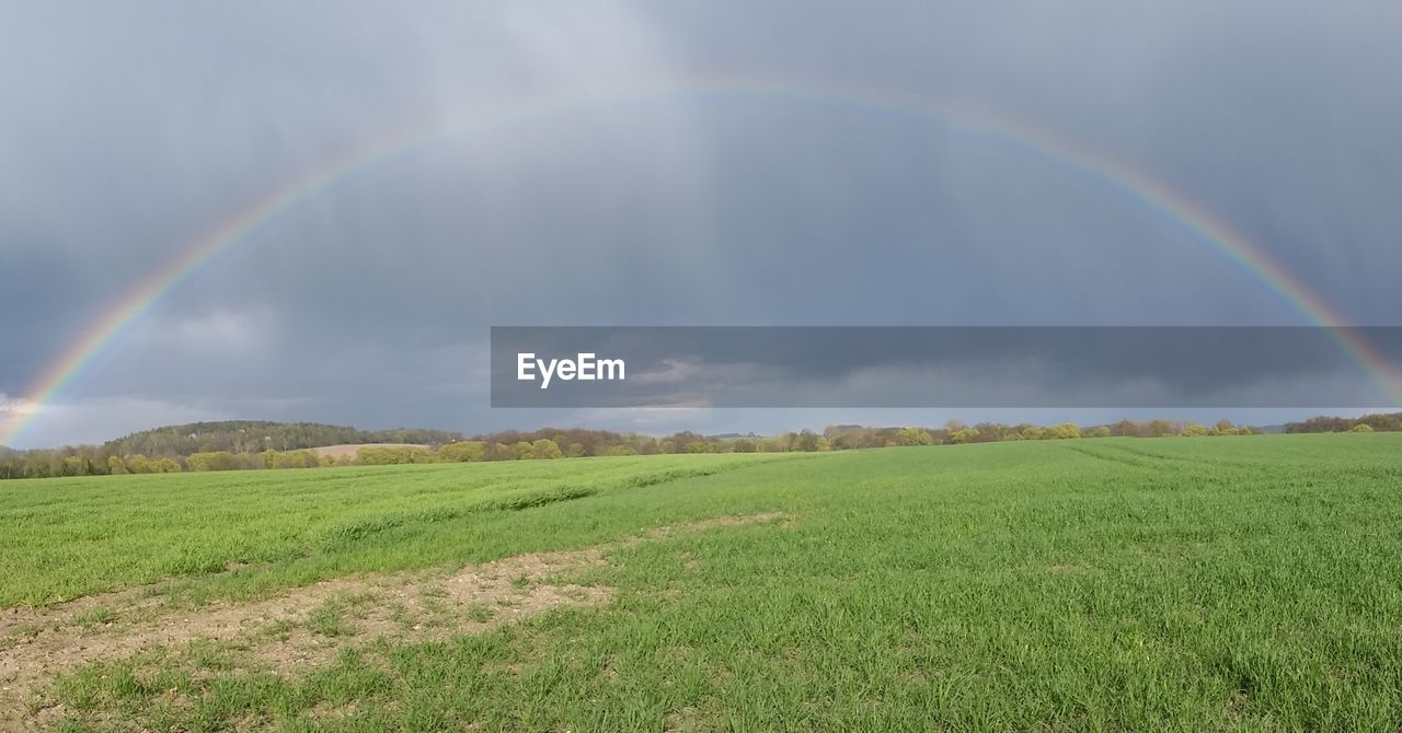 rainbow, double rainbow, field, scenics, nature, beauty in nature, tranquil scene, idyllic, landscape, grass, green color, tranquility, day, no people, sky, outdoors, rural scene, cloud - sky, multi colored, spectrum