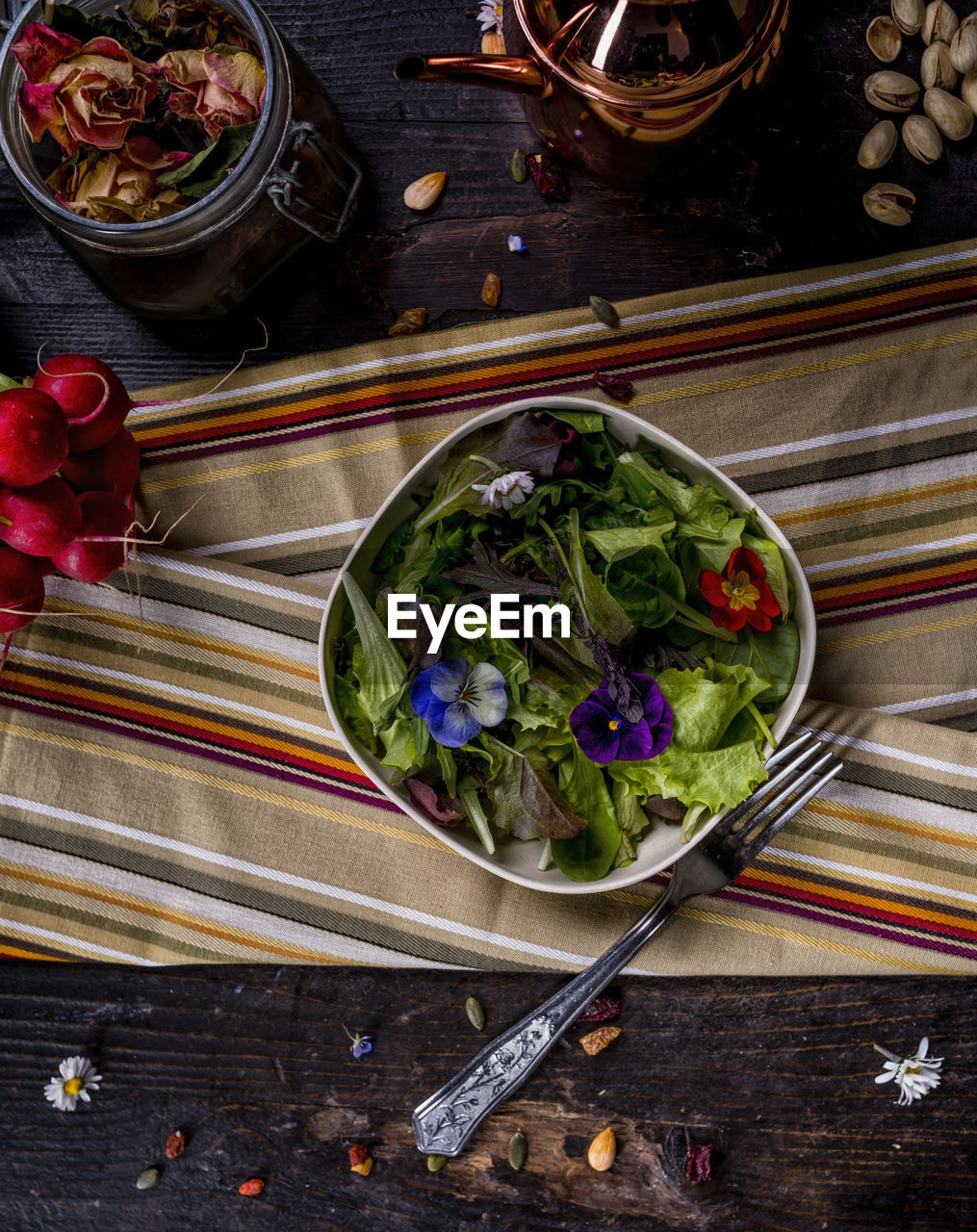 freshness, flower, flowering plant, food and drink, table, high angle view, food, bowl, wellbeing, indoors, healthy eating, directly above, vegetable, no people, container, chopsticks, still life, plant, nature, salad