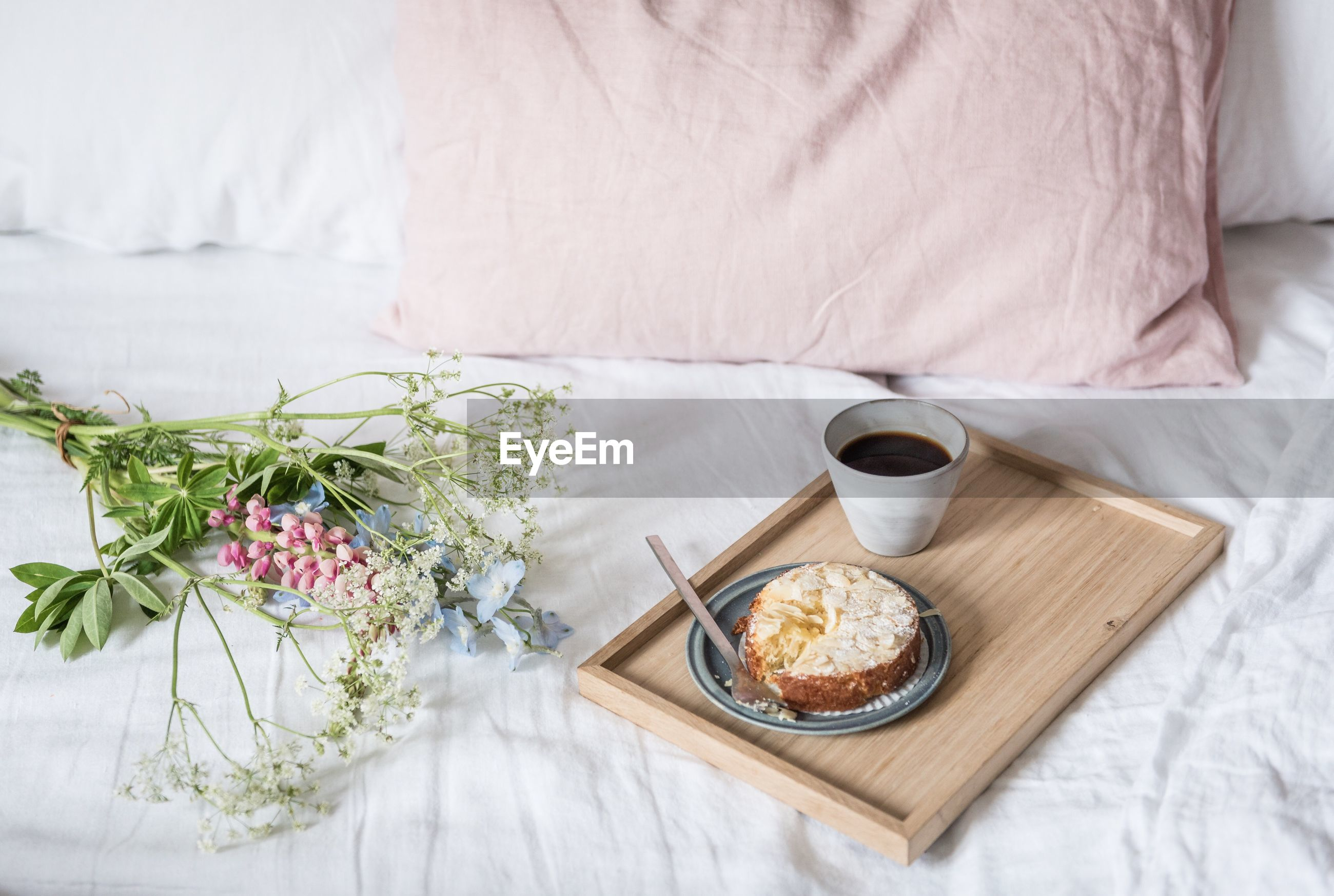 High angle view of breakfast on bed