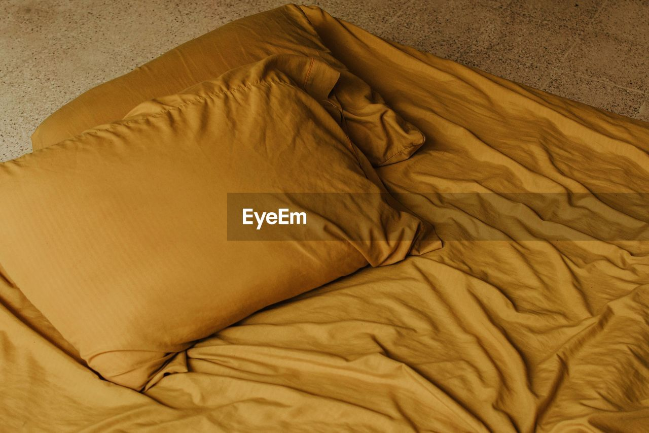 High Angle View Of Crumpled Bedsheet At Home