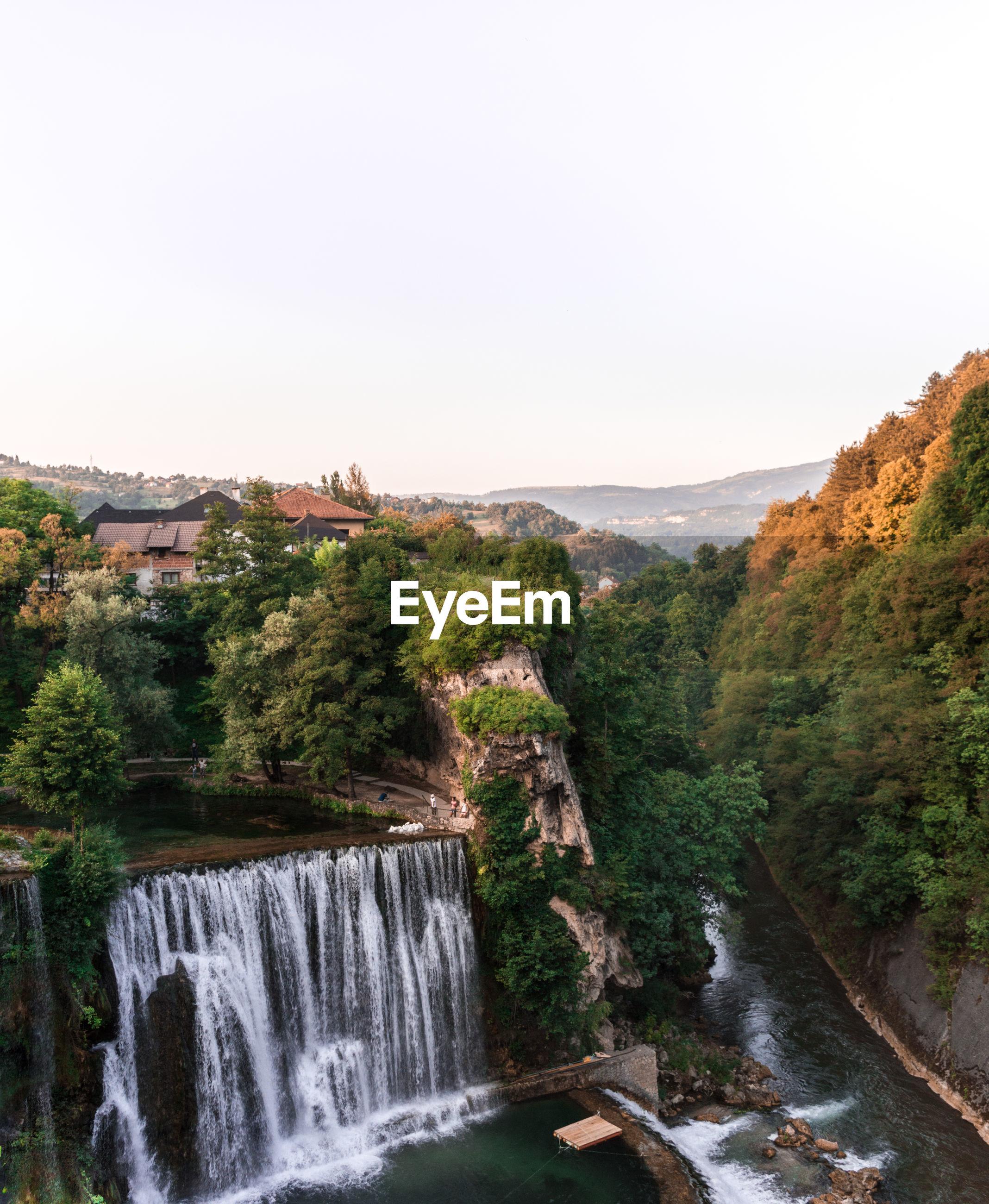 High angle view of pliva waterfall