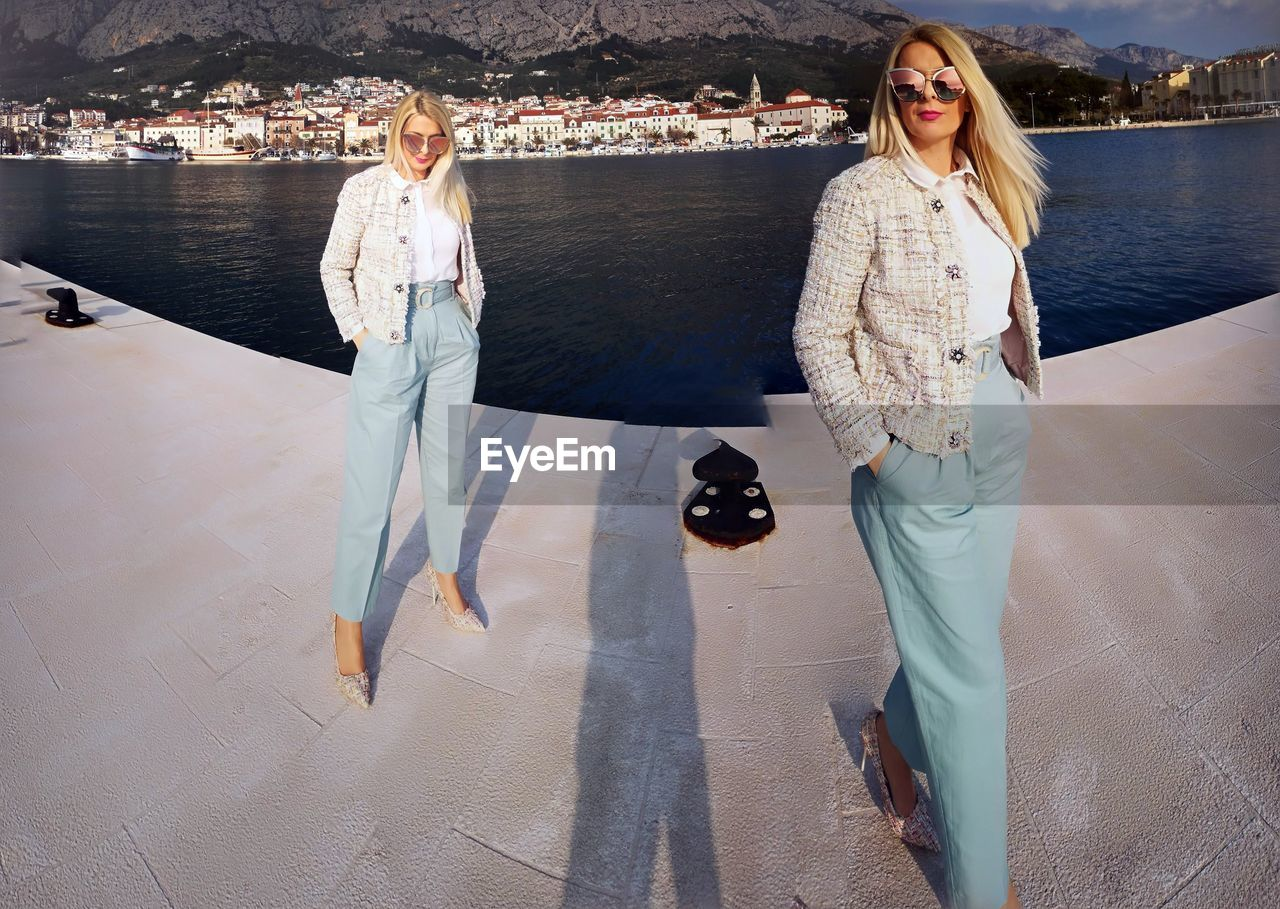 Multiple Image Of Woman Walking On Pier