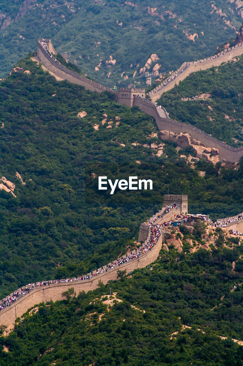 People On Great Wall Of China On Mountain