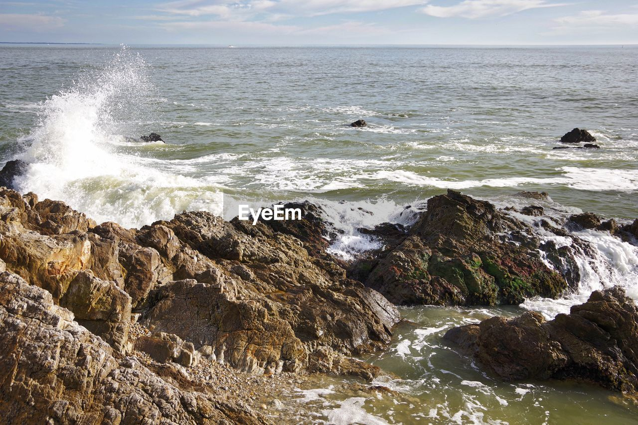 sea, nature, water, beauty in nature, horizon over water, no people, rock - object, wave, scenics, beach, outdoors, day, sky, bird