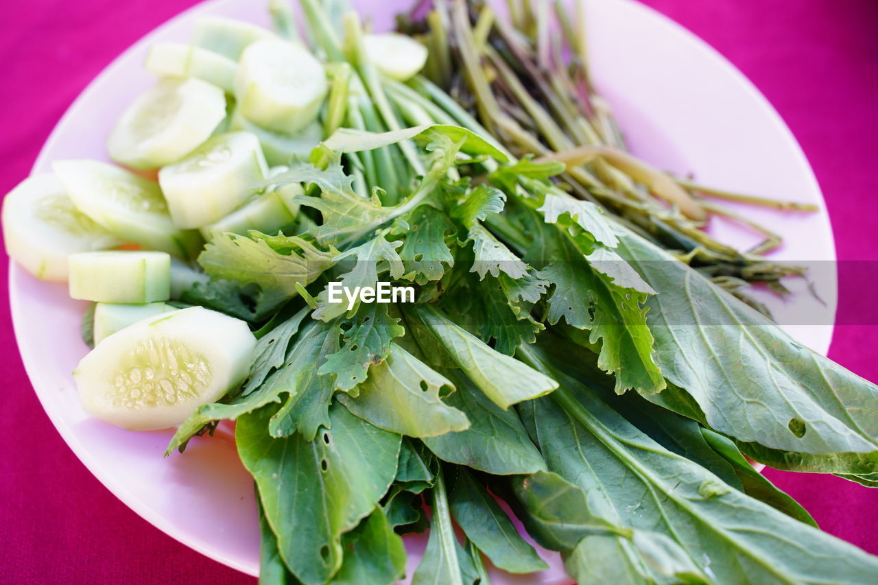 food and drink, healthy eating, food, freshness, wellbeing, vegetable, close-up, indoors, plate, still life, green color, ready-to-eat, no people, salad, high angle view, serving size, meal, bowl, focus on foreground, onion, vegetarian food