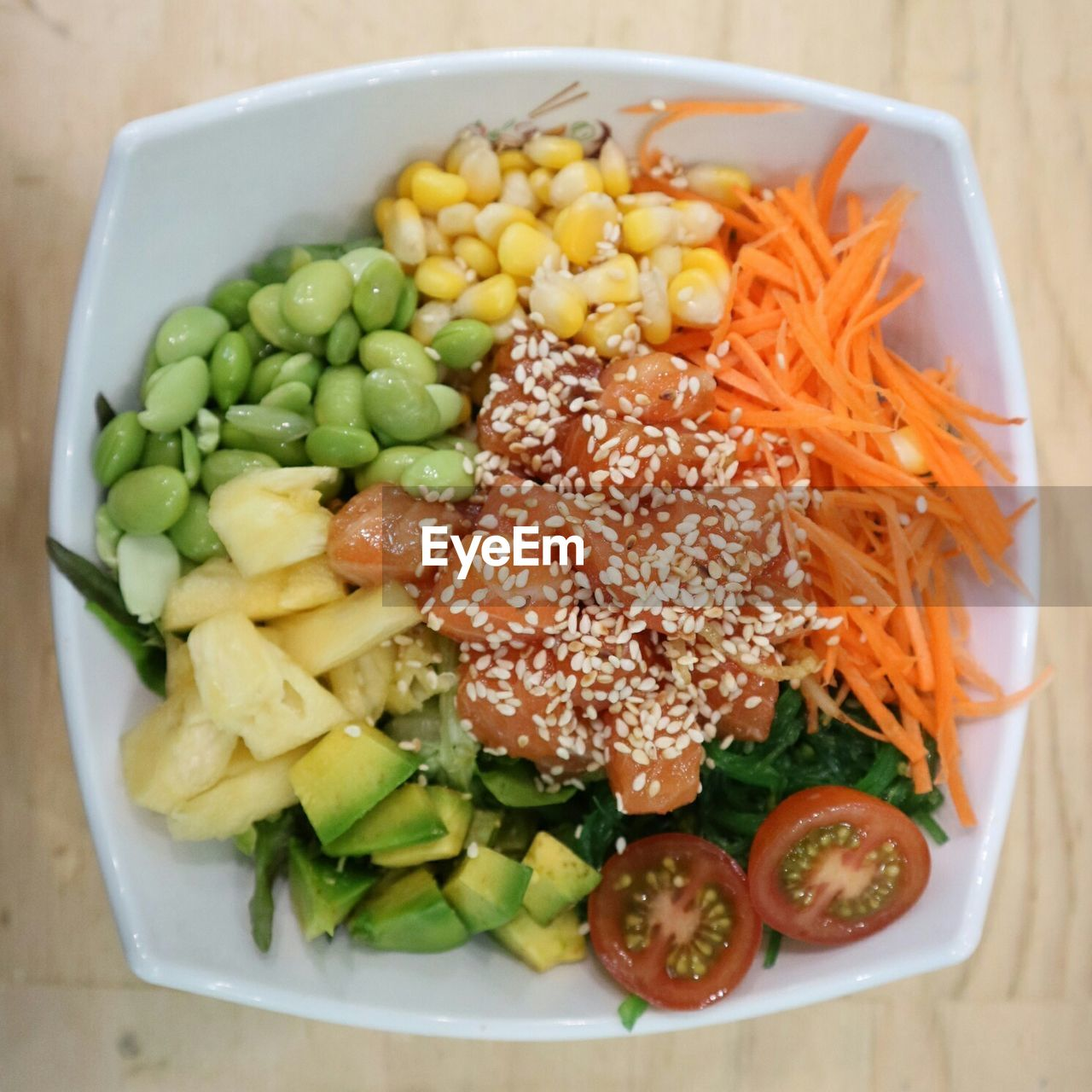HIGH ANGLE VIEW OF CHOPPED SALAD IN BOWL