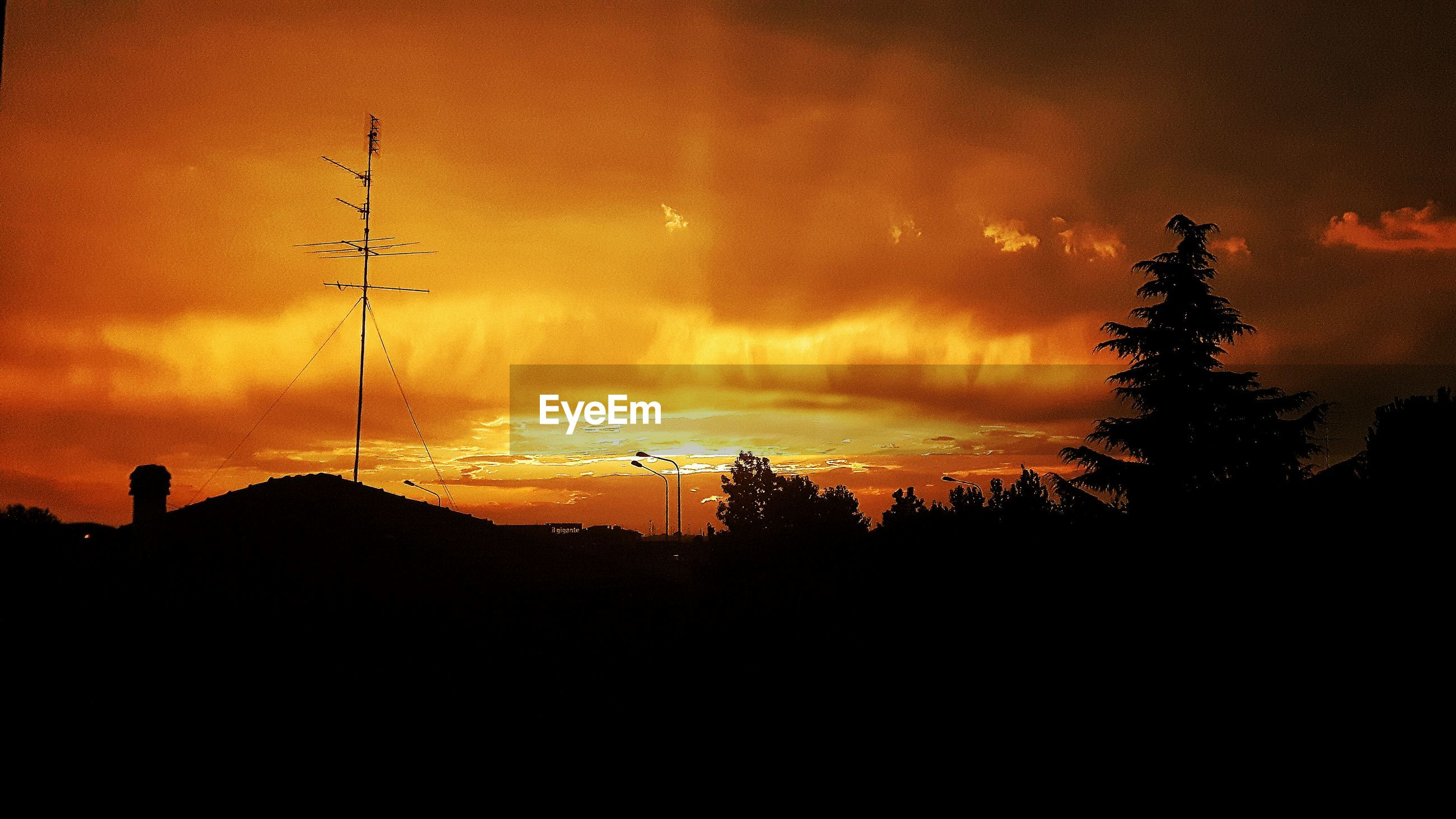 sunset, silhouette, sky, nature, orange color, cloud - sky, beauty in nature, tranquil scene, scenics, tranquility, tree, no people, outdoors, landscape, technology, day