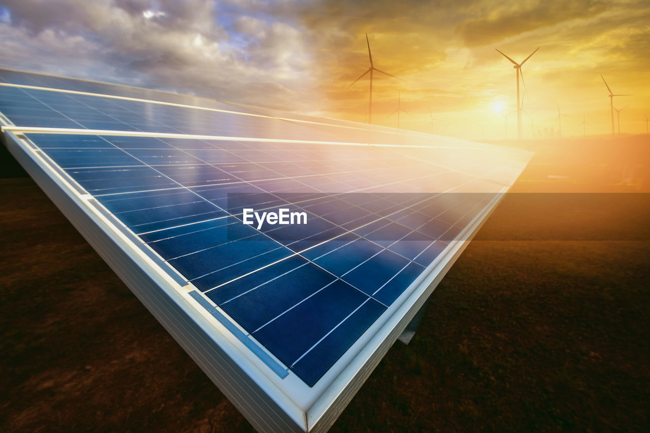 environmental conservation, alternative energy, renewable energy, fuel and power generation, environment, technology, sky, solar energy, solar panel, nature, sustainable resources, electricity, sun, power supply, sunlight, solar equipment, no people, sunset, outdoors, wind turbine