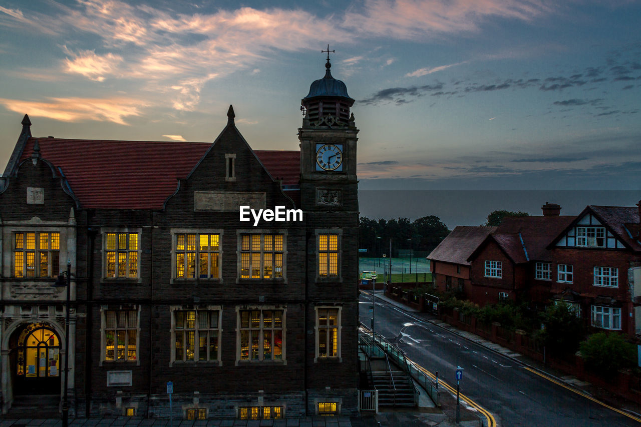 architecture, built structure, building exterior, sky, cloud - sky, transportation, sunset, no people, outdoors, clock tower, city, illuminated, clock, day