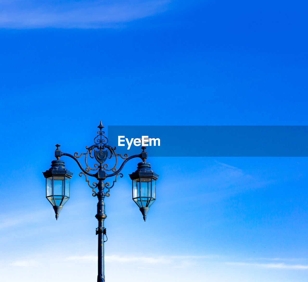 lighting equipment, blue, outdoors, no people, street light, weather vane, gas light, low angle view, day, direction, nature, electricity, animals in the wild, sky, technology, animal themes, close-up, bird