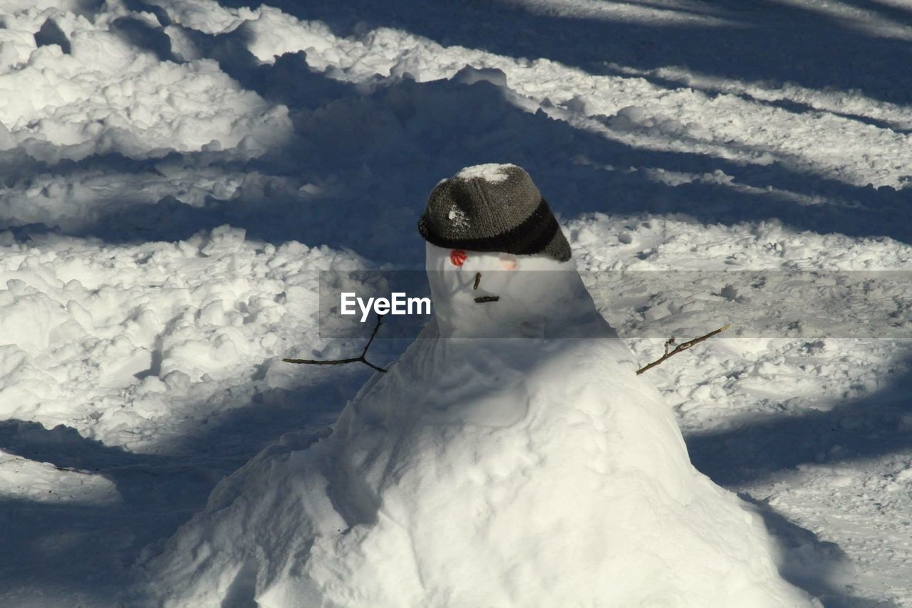 High Angle View Of Snowman On Field