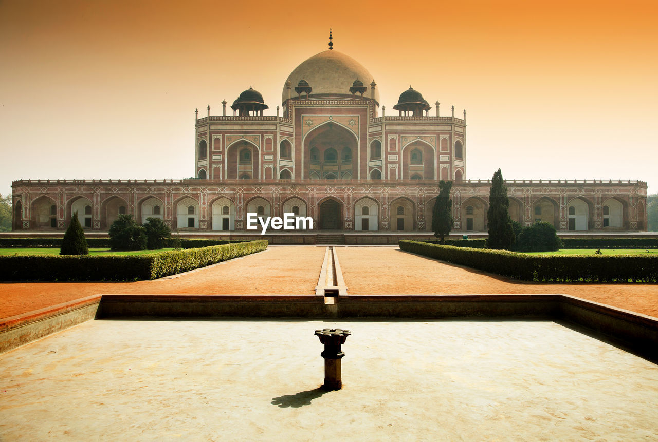 Low Angle View Of Humayuns Tomb Against Clear Sky On Sunny Day