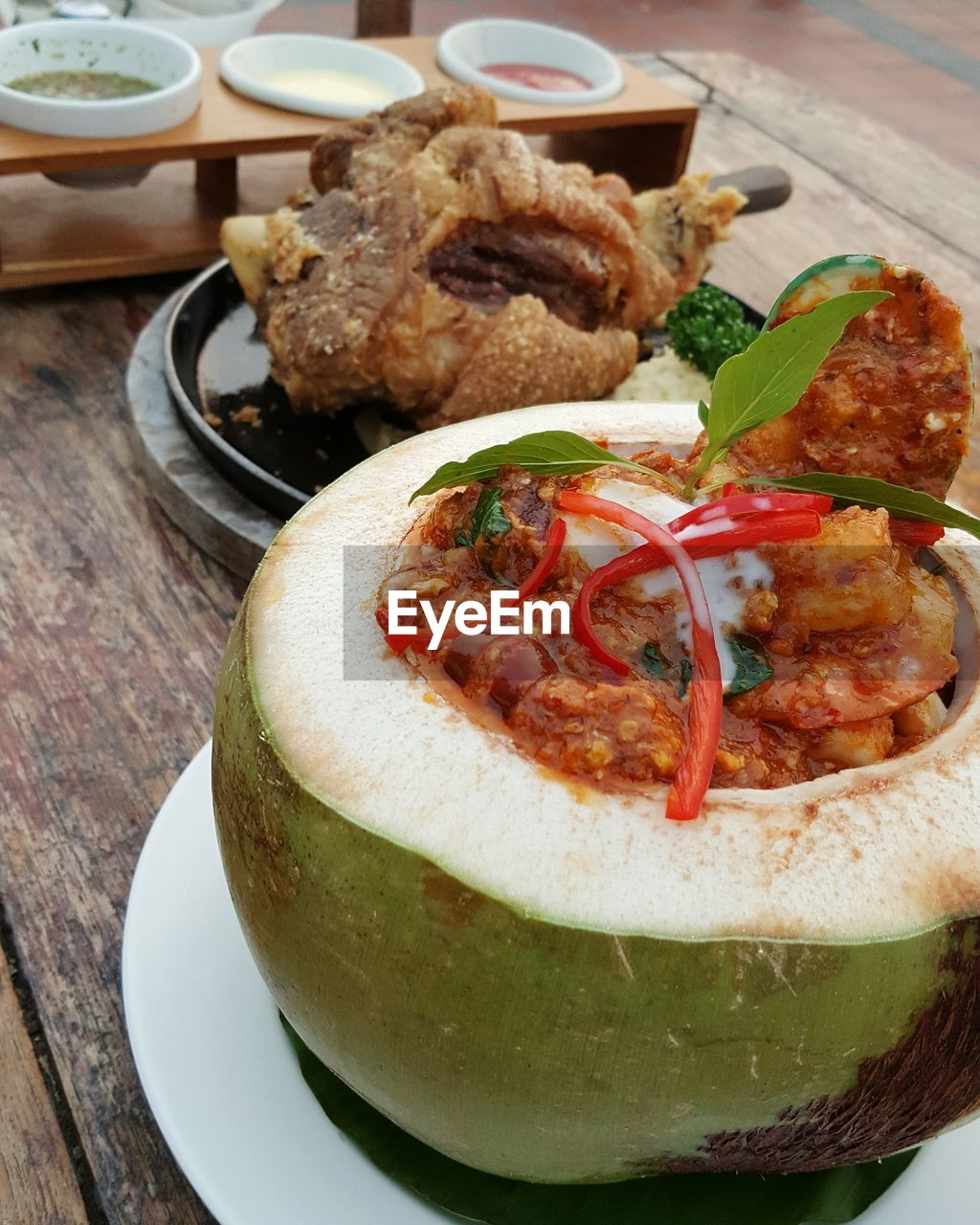 Close-Up Of Food Served In Coconut Shell