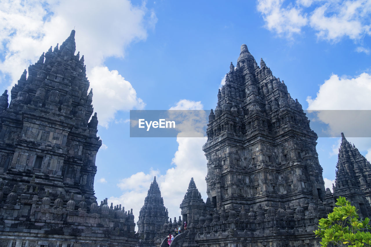 Low angle view of temple buildings against sky