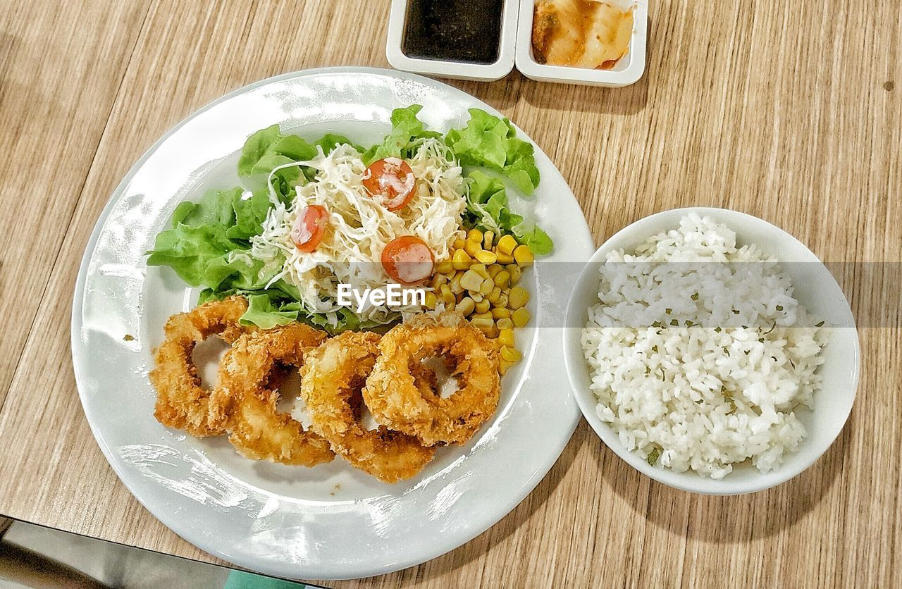 food and drink, food, table, plate, indoors, freshness, high angle view, directly above, ready-to-eat, breakfast, no people, healthy eating, bowl, close-up, day