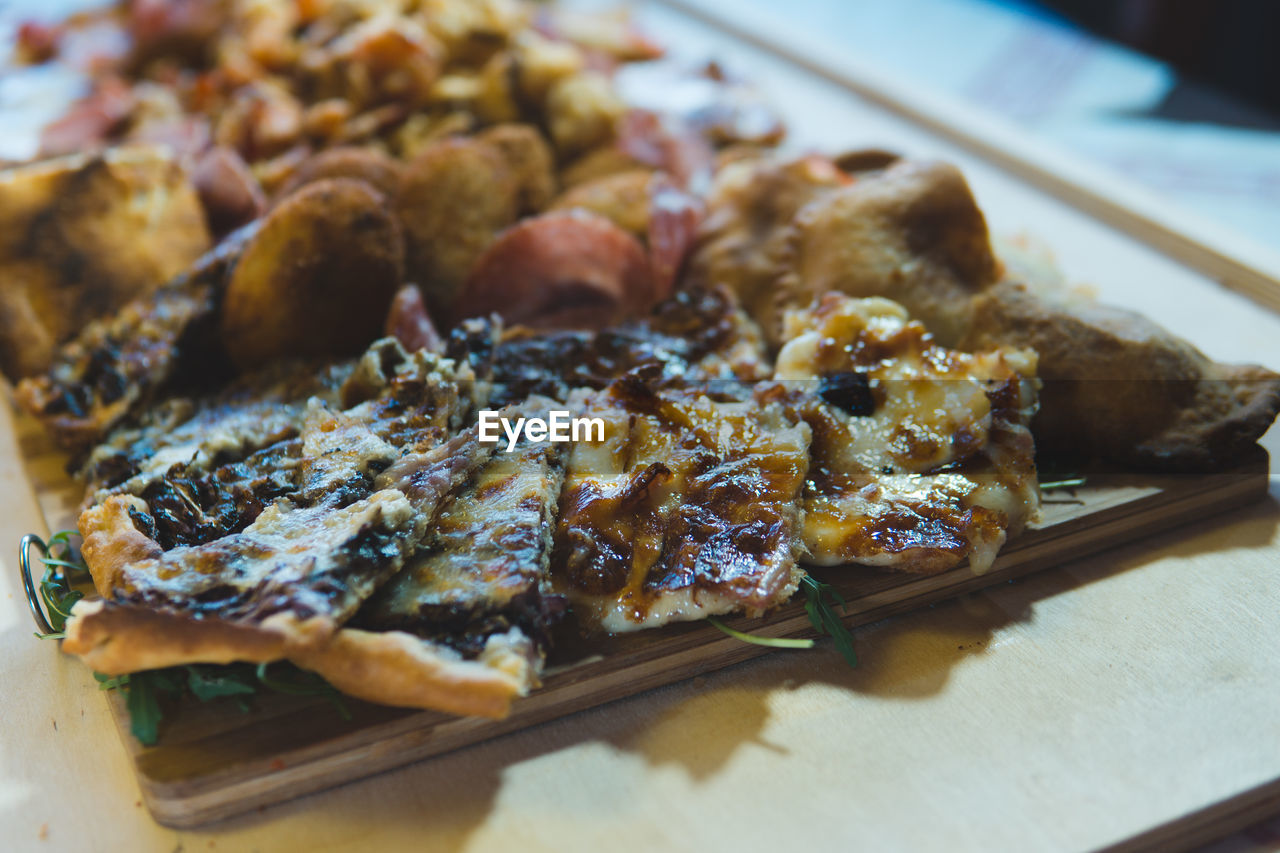 Close-up of meat served on table