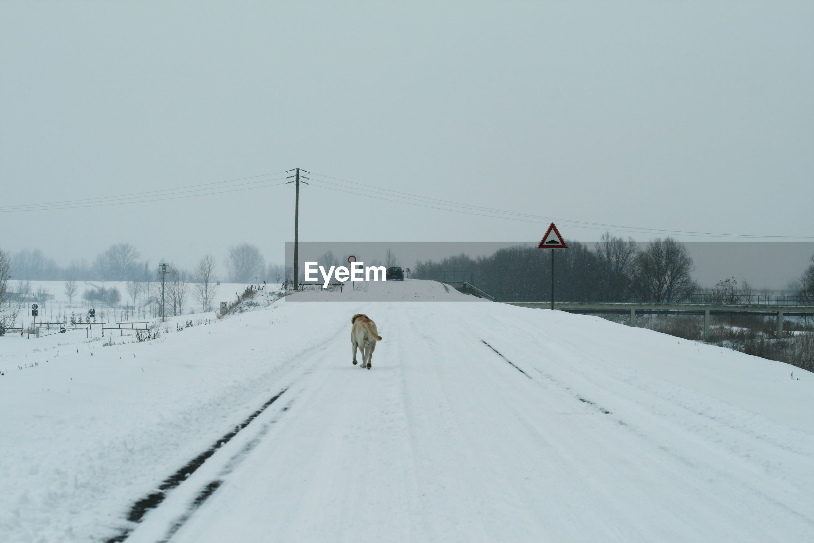 SNOW COVERED ROAD AMIDST LAND AGAINST SKY
