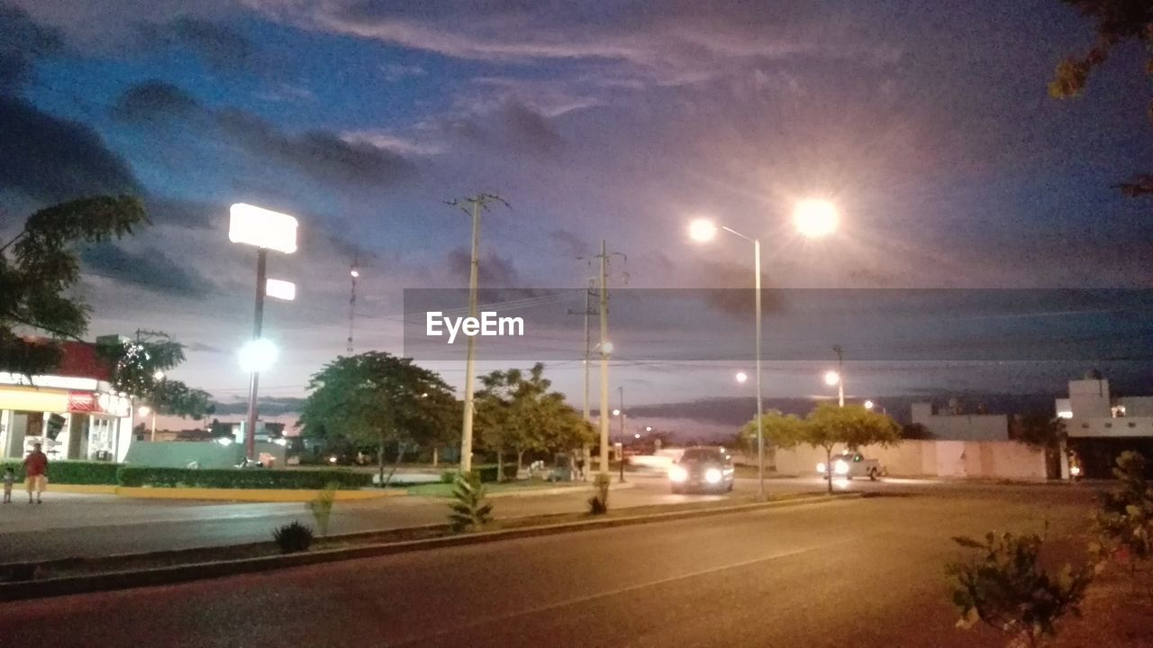 illuminated, street light, night, road, transportation, car, sky, outdoors, tree, no people, nature